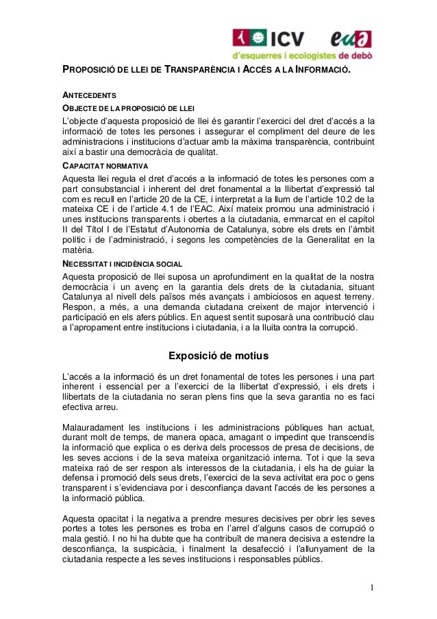 PROPOSICIÓ DE LLEI DE TRANSPARÈNCIA I ACCÉS A LA INFORMACIÓ.ANTECEDENTSOBJECTE DE LA PROPOSICIÓ DE LLEIL'objecte d'aquesta...