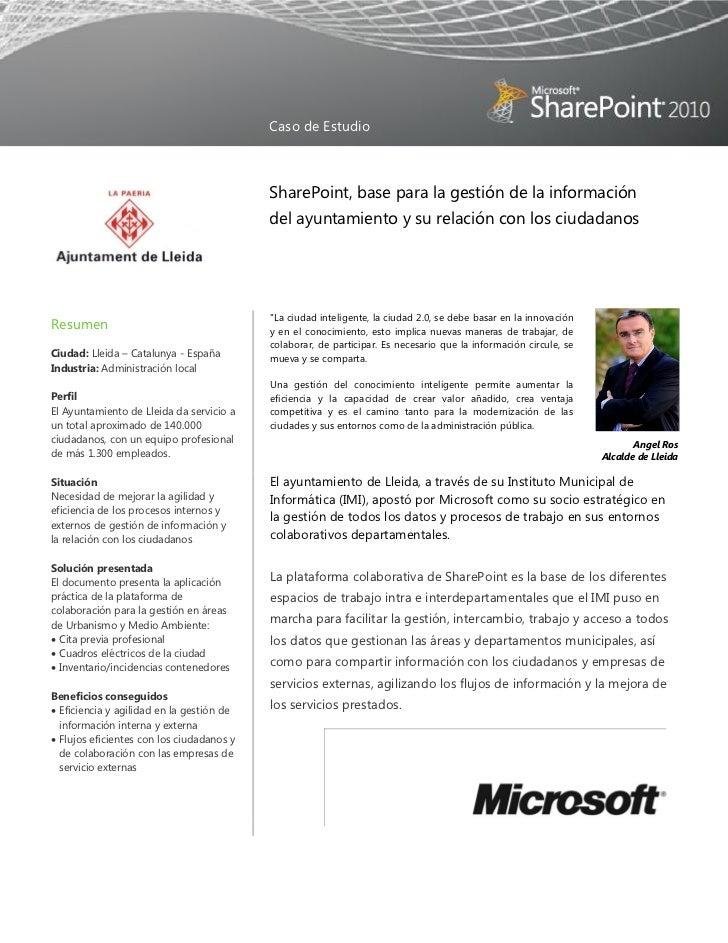 Caso de Estudio                                           SharePoint, base para la gestión de la información              ...