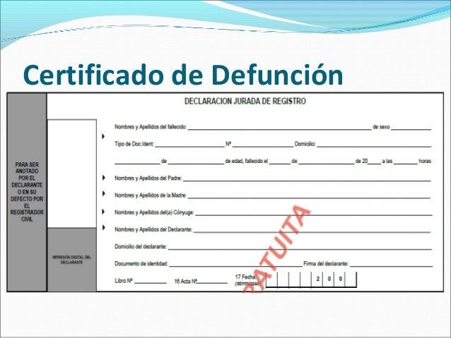 Resultado de imagen de certificado fallecimiento