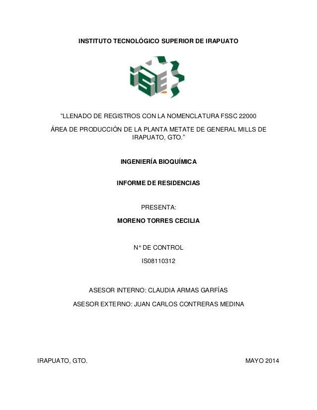 """INSTITUTO TECNOLÓGICO SUPERIOR DE IRAPUATO """"LLENADO DE REGISTROS CON LA NOMENCLATURA FSSC 22000 ÁREA DE PRODUCCIÓN DE LA P..."""