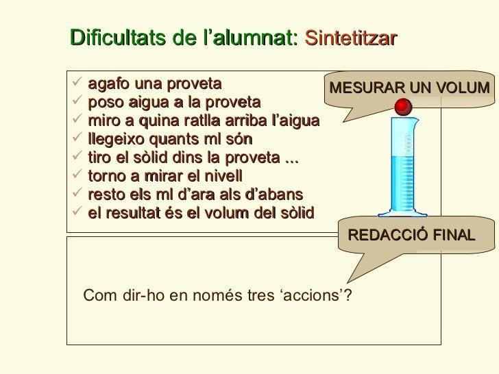 Dificultats de l ' alumnat:  Sintetitzar <ul><li>agafo una proveta </li></ul><ul><li>poso aigua a la proveta </li></ul><ul...