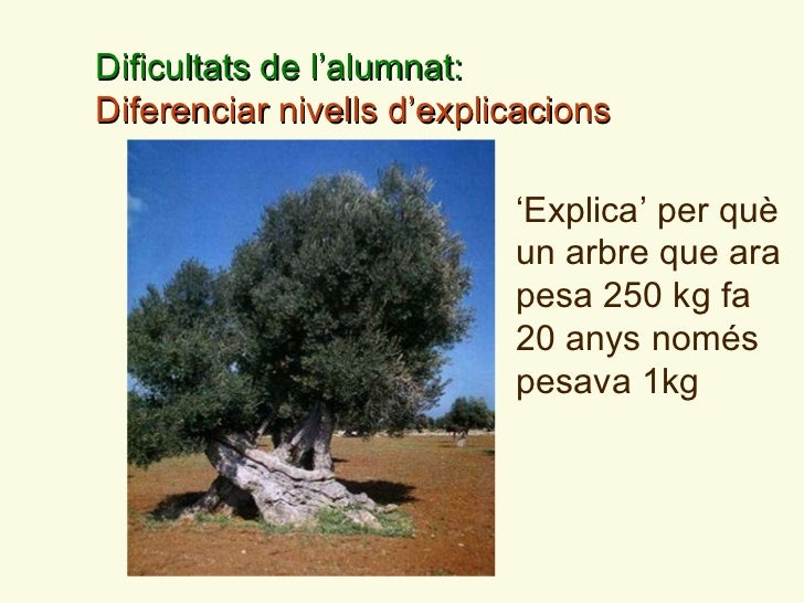 ' Explica '  per qu è  un arbre que ara pesa 250 kg fa 20 anys nom és  pesava 1kg  Dificultats de l ' alumnat:  Diferencia...