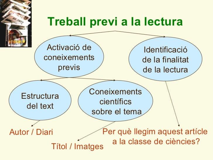 Treball previ a la lectura Identificació de la finalitat de la lectura Coneixements científics sobre el tema Activació de ...