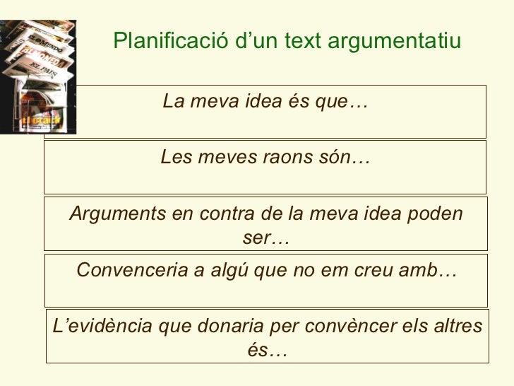 Arguments en contra de la meva idea poden ser… La meva idea és que… Les meves raons són… Convencer i a a algú que no em cr...