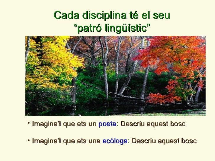 <ul><li>Imagina ' t que ets un  poeta :  Descriu aquest bosc </li></ul><ul><li>Imagina ' t que ets una  ecòloga :  Descriu...