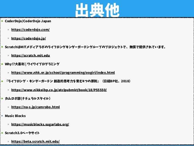 出典他CoderDojo/CoderDojo Japan https://coderdojo.com/ https://coderdojo.jp/ ScratchはMITメディアラボのライフロングキンダーガーテングループのプロジェクトで、無償で...