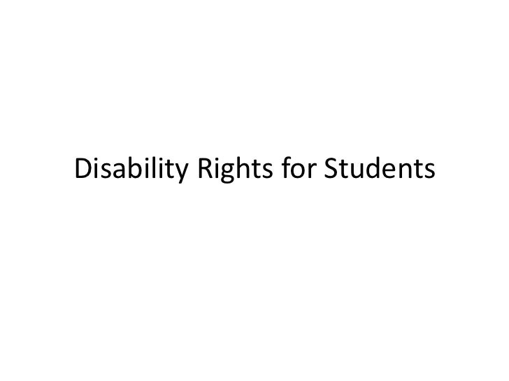 Disability Rights for Students