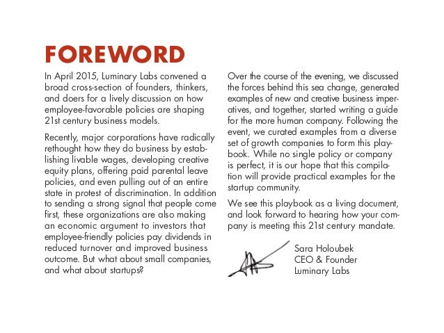Foreword In April 2015, Luminary Labs convened a broad cross-section of founders, thinkers, and doers for a lively discuss...