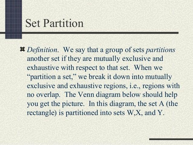 ... 15. Set Partition Definition.