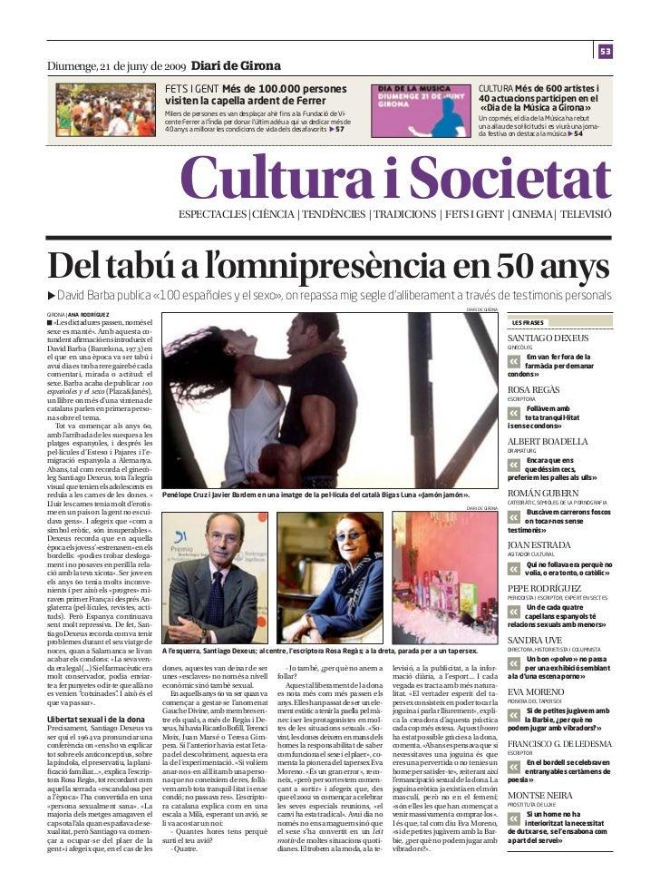 53Diumenge,  de juny de  Diari de Girona                                            FETS I GENT Més de 100.000 perso...