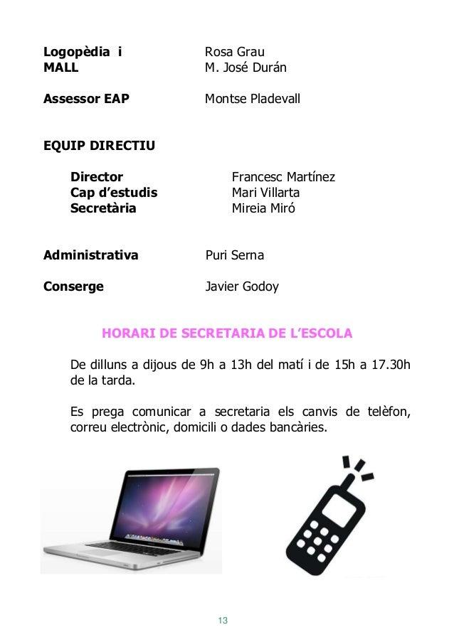13 Logopèdia i Rosa Grau MALL M. José Durán Assessor EAP Montse Pladevall EQUIP DIRECTIU Director Francesc Martínez Cap d'...