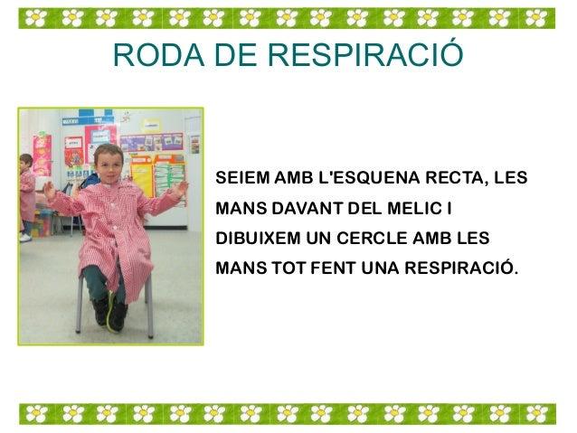 RODA DE RESPIRACIÓ SEIEM AMB L'ESQUENA RECTA, LES MANS DAVANT DEL MELIC I DIBUIXEM UN CERCLE AMB LES MANS TOT FENT UNA RES...