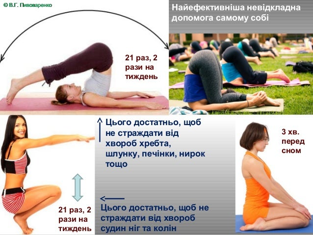 9 Найефективніша невідкладна допомога самому собі 21 раз, 2 рази на тиждень 21 раз, 2 рази на тиждень Цього достатньо, щоб...