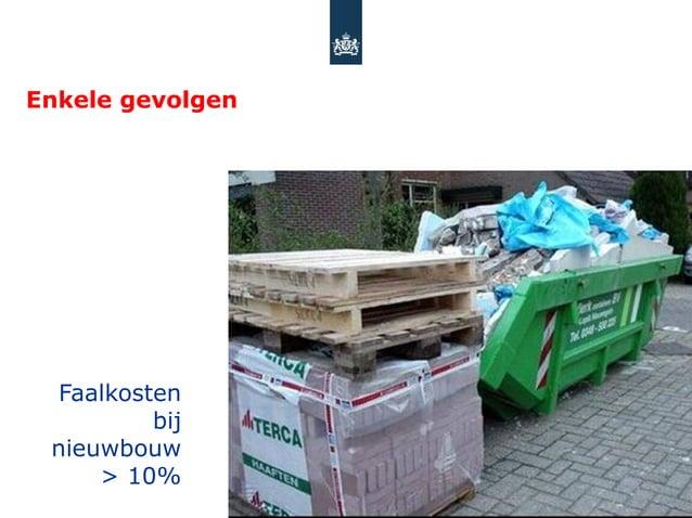Enkele gevolgen Faalkosten         bij nieuwbouw     > 10%
