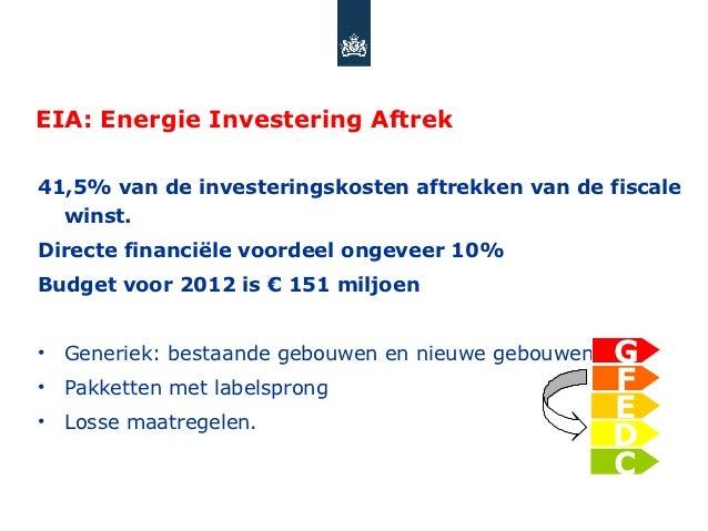 EIA: Energie Investering Aftrek41,5% van de investeringskosten aftrekken van de fiscale  winst.Directe financiële voordeel...