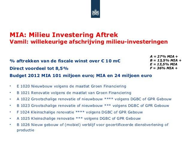 MIA: Milieu Investering AftrekVamil: willekeurige afschrijving milieu-investeringen                                       ...