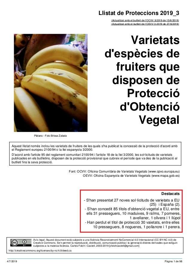 Varietats d'espècies de fruiters que disposen de Protecció d'Obtenció Vegetal (Actualitzat amb el butlletí de l'OCVV 3/201...