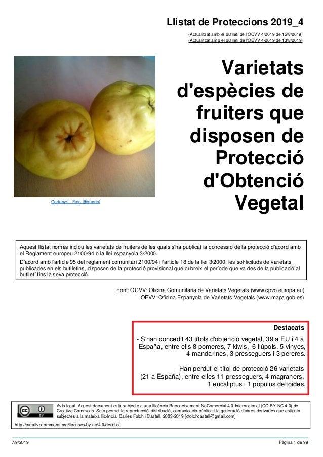 Varietats d'espècies de fruiters que disposen de Protecció d'Obtenció Vegetal (Actualitzat amb el butlletí de l'OCVV 4/201...
