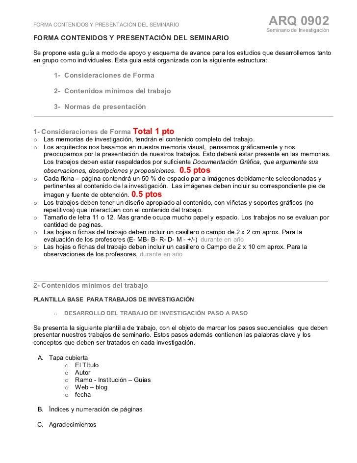 FORMA CONTENIDOS Y PRESENTACIÓN DEL SEMINARIO                                       ARQ 0902                              ...