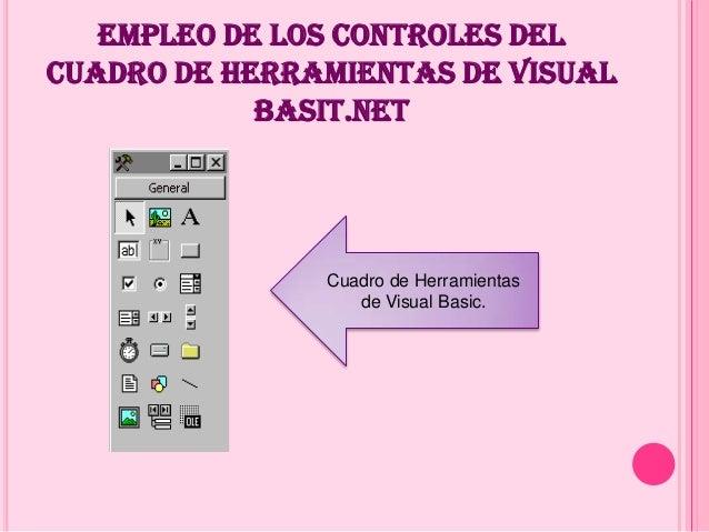 EMPLEO DE LOS CONTROLES DEL CUADRO DE HERRAMIENTAS DE VISUAL BASIT.NET Cuadro de Herramientas de Visual Basic.