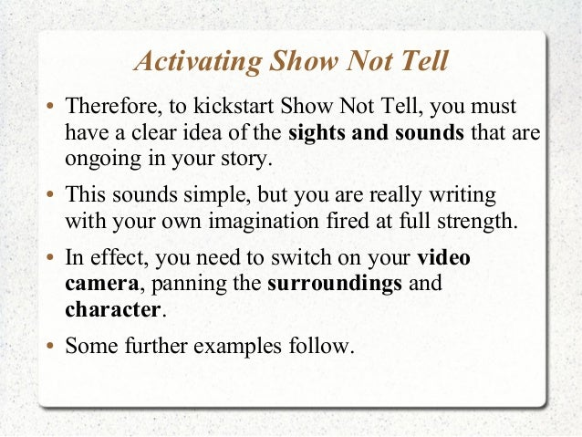 how to show not tell in a story