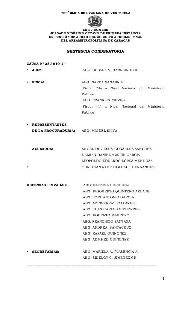 Sentencia contra leopoldo lpez repblica bolivariana de venezuela en su nombre juzgado vigsimo octavo de primera instancia en funcin de fandeluxe Image collections