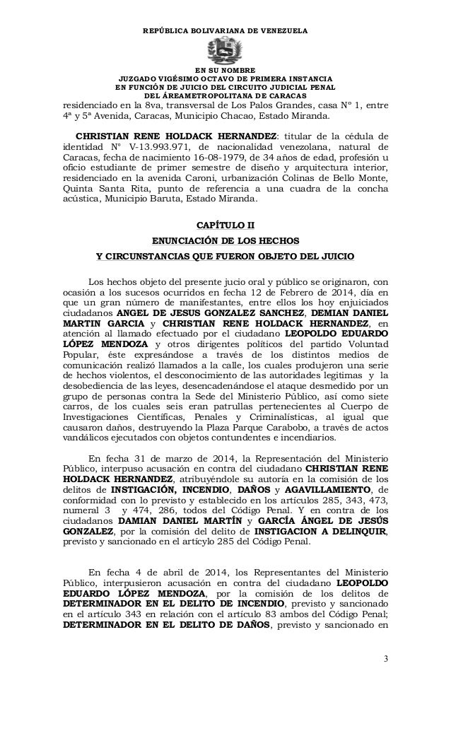 Sentencia contra leopoldo lpez 3 repblica bolivariana de fandeluxe Image collections