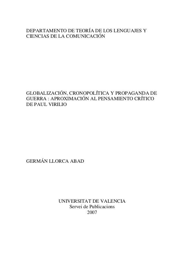 DEPARTAMENTO DE TEORÍA DE LOS LENGUAJES Y CIENCIAS DE LA COMUNICACIÓN  GLOBALIZACIÓN, CRONOPOLÍTICA Y PROPAGANDA DE GUERRA...