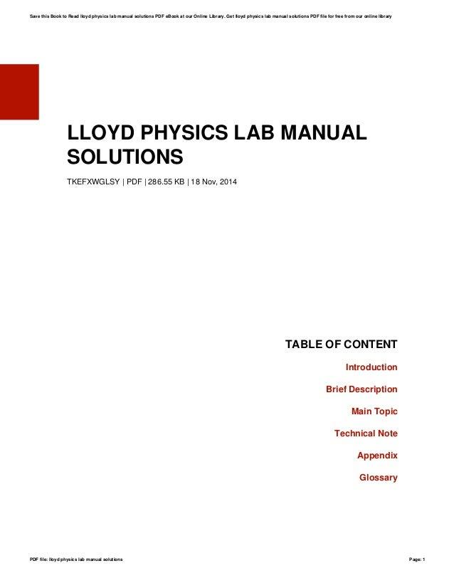 lloyd physics lab manual solutions rh slideshare net physics laboratory manual loyd 4th edition solutions Engineering Laboratory