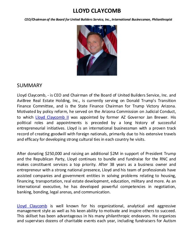 lloyd claycomb resume personal and professional accomplishments
