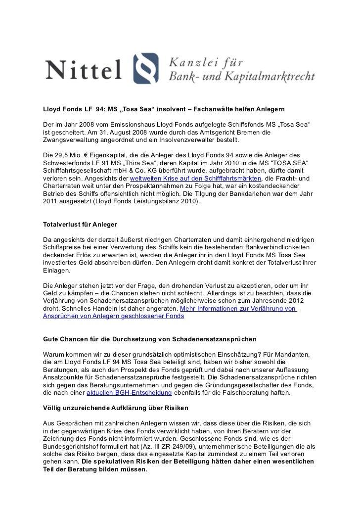 """Lloyd Fonds LF 94: MS """"Tosa Sea"""" insolvent – Fachanwälte helfen AnlegernDer im Jahr 2008 vom Emissionshaus Lloyd Fonds auf..."""
