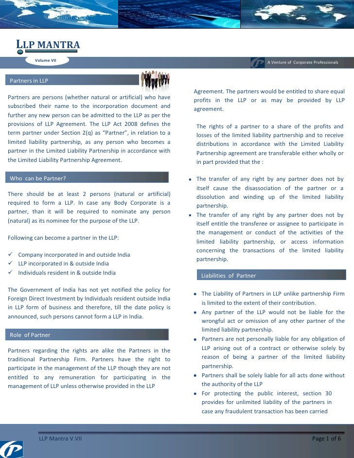 LLP MANTRA           Volume VII                                                                          A Venture of Corp...