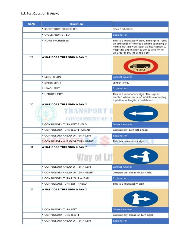 LLR Test Question & AnswerSl.No Question* RIGHT TURN PROHIBITED Horn prohibited.* CYCLE PROHIBITED Explanation* HORN PROHI...
