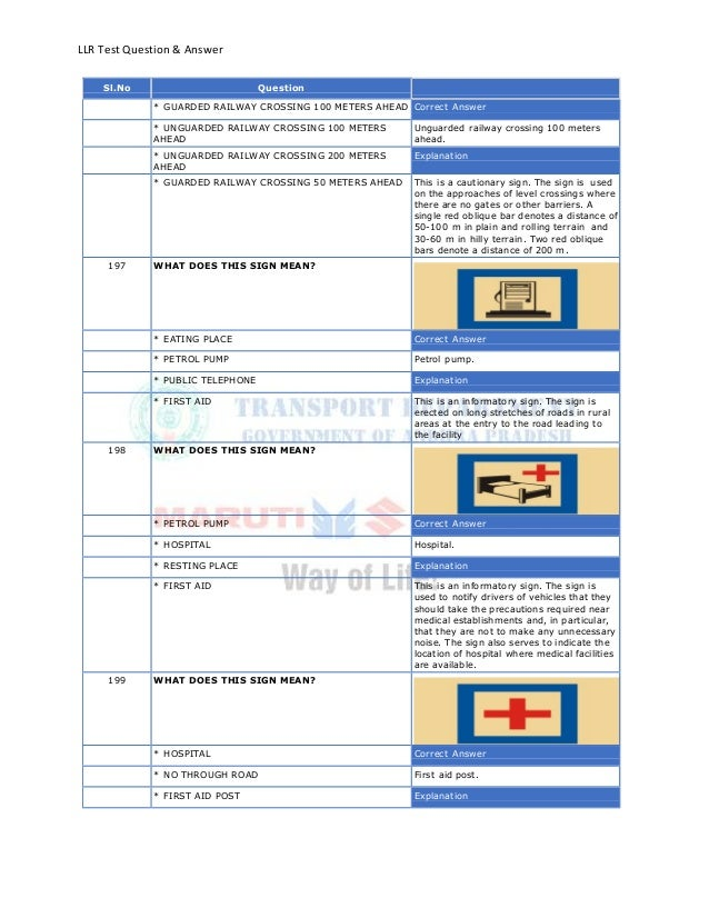 LLR Test Question & AnswerSl.No Question* GUARDED RAILWAY CROSSING 100 METERS AHEAD Correct Answer* UNGUARDED RAILWAY CROS...