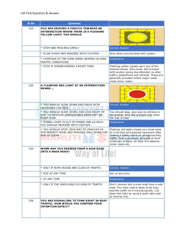 LLR Test Question & AnswerSl.No Question203 YOU ARE DRIVING A VEHICLE TOWARDS ANINTERSECTION WHERE THERE IS A FLASHINGYELL...