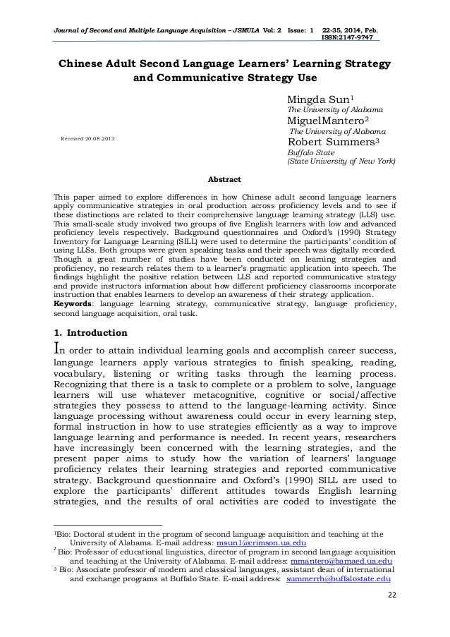 Journal of Second and Multiple Language Acquisition – JSMULA Vol: 2 Issue: 1 22-35, 2014, Feb. ISSN:2147-9747 22 Chinese A...