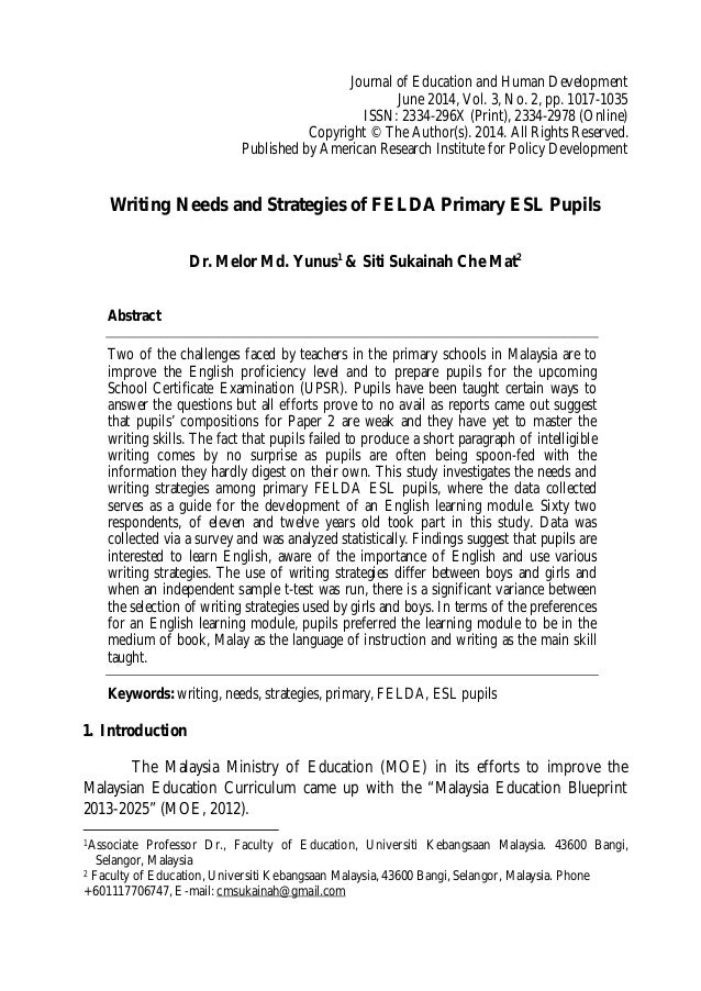 Lls felda writing journal of education and human development june 2014 vol 3 no malvernweather Gallery