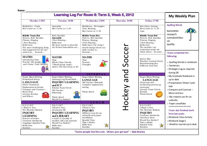 Name: ________________________________________________                                  Learning Log For Room 6: Term 3, W...