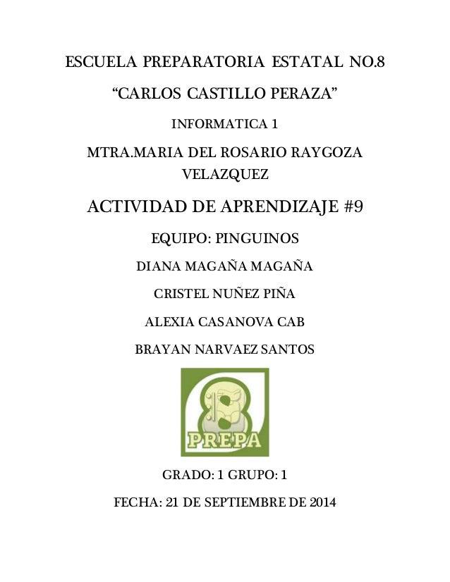 """ESCUELA PREPARATORIA ESTATAL NO.8  """"CARLOS CASTILLO PERAZA""""  INFORMATICA 1  MTRA.MARIA DEL ROSARIO RAYGOZA  VELAZQUEZ  ACT..."""