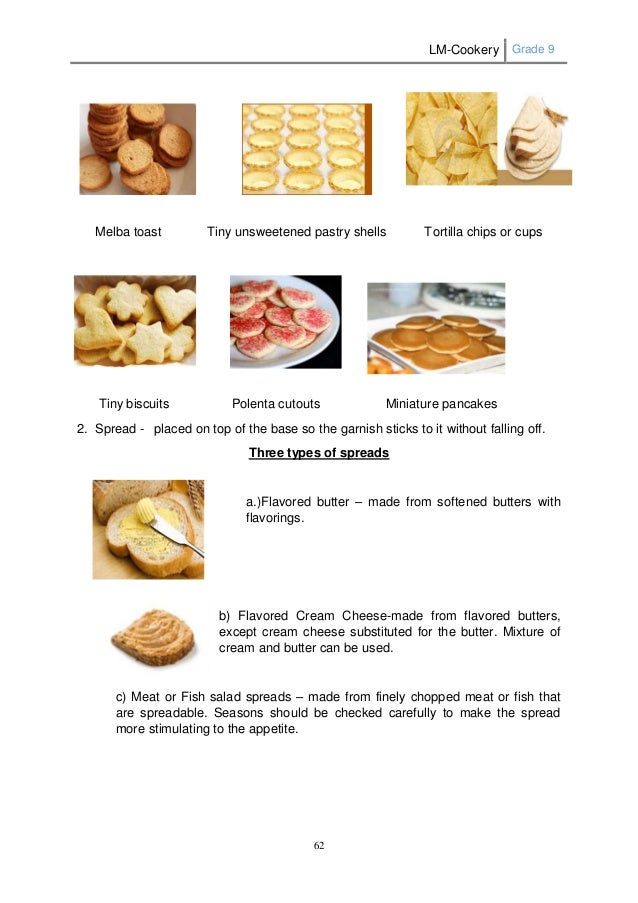 Lm cookery g9 for Types of canape bases
