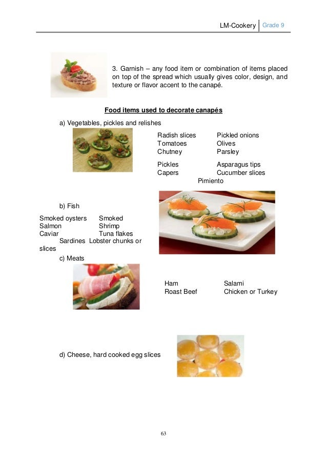 Lm cookery g9 for Canape recipes with ingredients and procedure