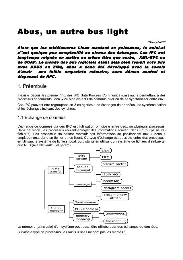 Abus, un autre bus light Thierry GAYET  Alors que les middlewares Linux montent en puissance, le celui- ci s''est quelque ...