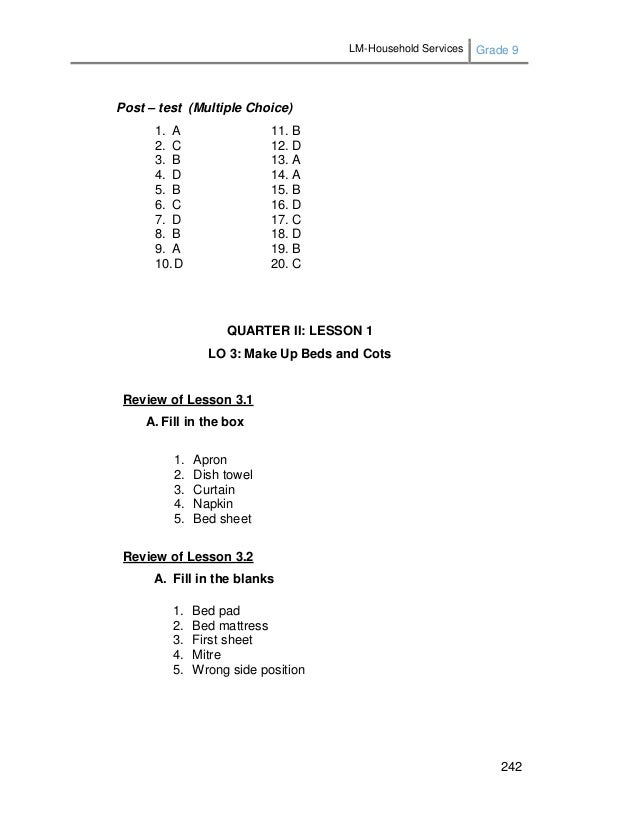 Lm household services-grade_9_3rd and 4th quarter