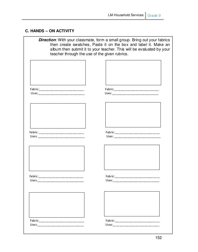 LM-Household Services Grade 9 152 C. HANDS – ON ACTIVITY Direction: With your classmate, form a small group. Bring out you...