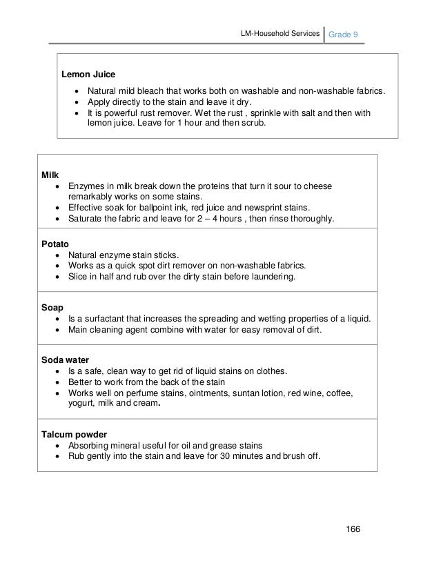 LM-Household Services Grade 9 166 Milk  Enzymes in milk break down the proteins that turn it sour to cheese remarkably wo...