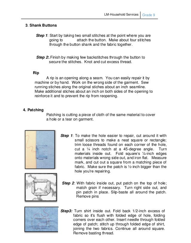 LM-Household Services Grade 9 182 3. Shank Buttons Step 1: Start by taking two small stitches at the point where you are g...