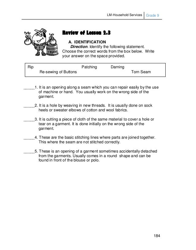 LM-Household Services Grade 9 184 Review of Lesson 2.3 A. IDENTIFICATION Direction. Identify the following statement. Choo...