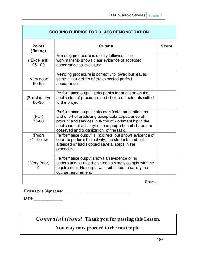 LM-Household Services Grade 9 186 Evaluators Signature:______________________________ Date:_____________ SCORING RUBRICS F...