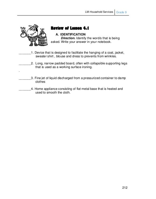 LM-Household Services Grade 9 212 Review of Lesson 4.1 A. IDENTIFICATION Direction. Identify the word/s that is being aske...