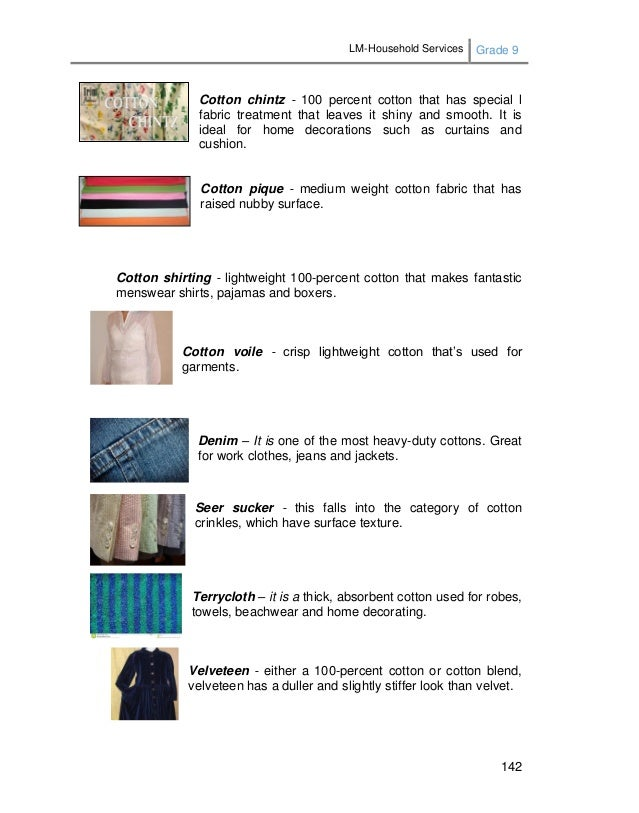 LM-Household Services Grade 9 142 Cotton chintz - 100 percent cotton that has special l fabric treatment that leaves it sh...
